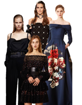 Clockwise from left: Donna Karan, Chanel, Carolina Herrera, Alexander McQueen