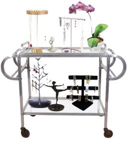 bar cart jewelry display